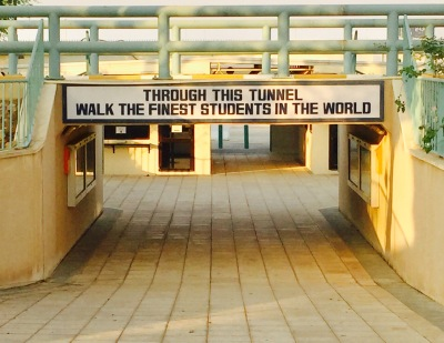 This is basically the last thing students see as they leave campus. Creating a culture of positivity, a place where people want to be, means paying attention to the little details like this.